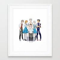 evangelion Framed Art Prints featuring Evangelion Children by Michelle Hannah Goldberg