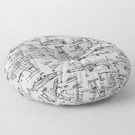 F-18 Blueprints // Light Grey Floor Pillow