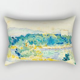 Mediterranean Landscape With a White House Watercolor Landscape Painting Rectangular Pillow