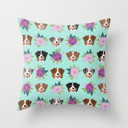 Australian Shepherd dog breed dog faces cute floral dog pattern Throw Pillow