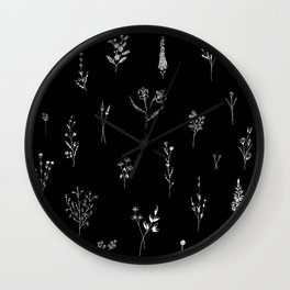 Black wildflowes Big Wall Clock