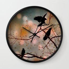 Rainy Day Crows Wall Clock