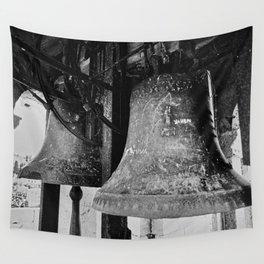 Church Bells, Piran, Mediterranean Sea, Film Photo, Black and White Wall Tapestry