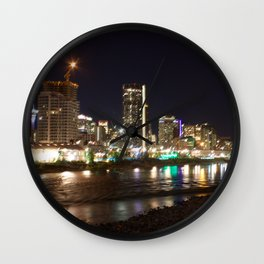 Downtown Calgary from St. Patrick's Island Bridge at night Wall Clock