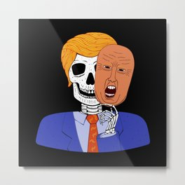 Skeleton with Scary Halloween Trump Mask Metal Print