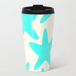 Aqua Starfish Pattern on Pale Yellow Travel Mug