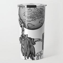 Penguin Zombie -Black and white Travel Mug