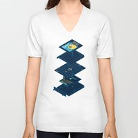blueprint V-neck T-shirts featuring Blueprint Waka-Waka by Manny Peters Art & Design