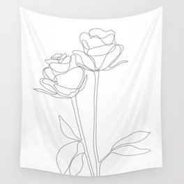 Two Minimal Roses Wall Tapestry