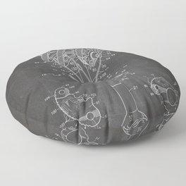 Climbing Anchor Patent - Rock Climber Art - Black Chalkboard Floor Pillow