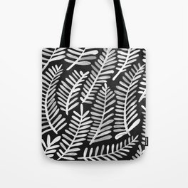Modern Fronds – White on Black Palette Tote Bag