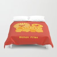 fries Duvet Covers featuring Bichon Fries by Anthony Irwin