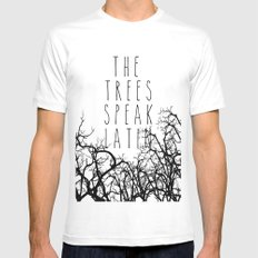 THE TREES SPEAK LATIN QUOTE BY MAGGIE STIEFVATER  Mens Fitted Tee SMALL White