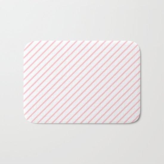 Diagonal Lines (Pink/White) Bath Mat