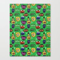 sesame street Canvas Prints featuring Sesame Street Pattern by MOONGUTS (Kyle Coughlin)