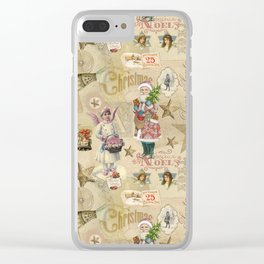 Vintage Christmas Collage Pattern Clear iPhone Case
