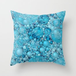 Ocean Atlantic Blue Bubble Abstract Throw Pillow