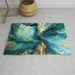 Marbled Ocean Abstract, Navy, Blue, Teal, Green Rug