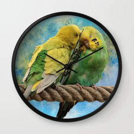 Budgie Love Wall Clock