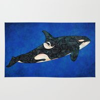 killer whale Area & Throw Rugs featuring Killer Whale by Ben Geiger