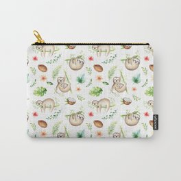 Tropical Sloths Pattern Carry-All Pouch