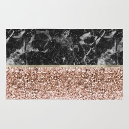 Warm chromatic - rose gold and black marble Rug