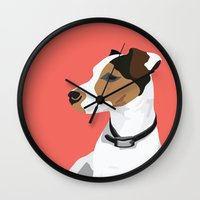 jack russell Wall Clocks featuring Dog - Jack Russell by bluebutton studio