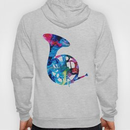 Colorful French Horn 2 - Cool Colors Abstract Art Sharon Cummings Hoody