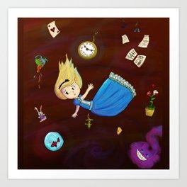 Alice in Wonderland falling through rabbit hole Art Print