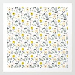 Cute spring flowers pattern pastel colors Art Print