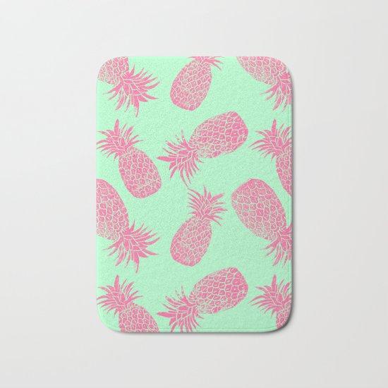 Pineapple Pattern - Mint & Crimson Bath Mat