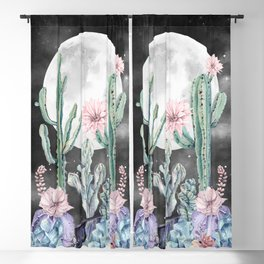 Desert Cactus Full Moon Succulent Garden Night Sky Blackout Curtain
