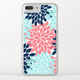 Navy Coral Aqua Floral Pattern Flower Burst Petals Clear iPhone Case