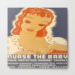 Vintage poster - Breastfeeding Metal Print