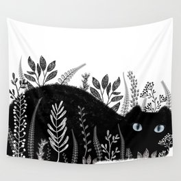Garden Cat Black And White Wall Tapestry