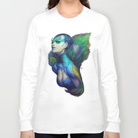 peacock Long Sleeve T-shirts featuring Peacock Queen by Artgerm™