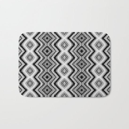 Black White Diamond Crochet Pattern Bath Mat