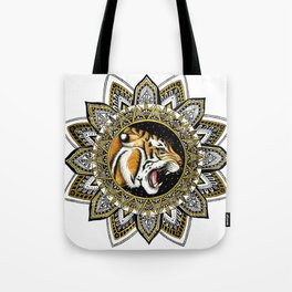 Black and Gold Roaring Tiger Mandala Tote Bag