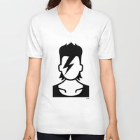 bowie V-neck T-shirts featuring Bowie  by triangle.cross