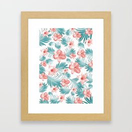 Tropical Flowers Palm Leaves Finesse #2 #tropical #decor #art #society6 Framed Art Print