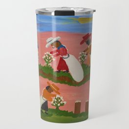 African American Masterpiece 'Six Figures Picking Cotton' folk art painting by Clementine Hunter Travel Mug