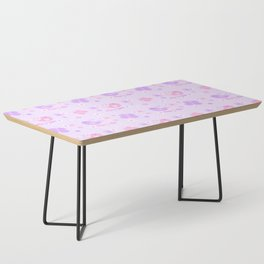 Chickadee Bird Butterfly Floral Purple Lavender Pink Coffee Table