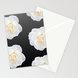 Cream Rose Polka Dot on Black Stationery Cards