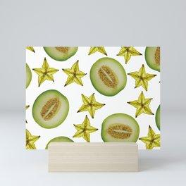 Melon and Starfruit pattern Design White Mini Art Print