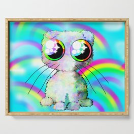 curly kawaii pet on rainbow and cloud background Serving Tray