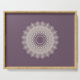 Mandala in Mulberry and White Serving Tray