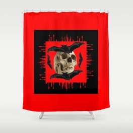 HALLOWEEN BAT INFESTED HAUNTED SKULL RED ART DESIGN Shower Curtain