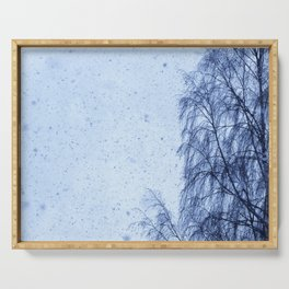 Just snowfall and birch Serving Tray