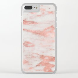 White Marble with Rose Gold Foil Clear iPhone Case