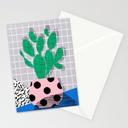 Iffy - cactus desert palm springs socal memphis hipster neon art print abstract grid pattern plant Stationery Cards